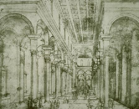 Perspective Drawing For Church Of Santo Spirito In Florence - Filippo Brunelleschi