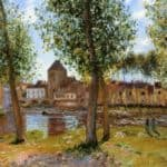 Poplars a Moret sur Loing, an August Afternoon – Alfred Sisley