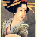 Portrait of a woman holding a fan – Katsushika Hokusai