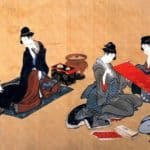 Portrait of Chino Hyogo seated at his writing desk – Katsushika Hokusai