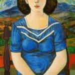Portrait of seated brunette – Rafael Zabaleta