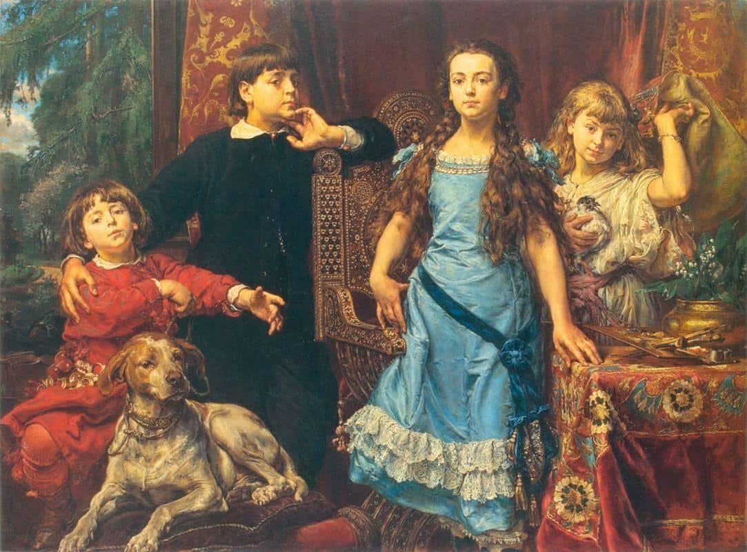 Portrait Of The Artist`s Four Children - Jan Matejko