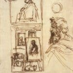 Preparatory drawing for Self-portrait on an Easel in a Workshop – Annibale Carracci