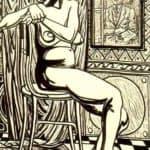 Seated female nude and artist's self-portrait – Rafael Zabaleta