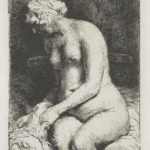 Seated naked woman (Woman bathing her feet at a brook) – Rembrandt