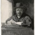 Self-portrait drawing at a window – Rembrandt