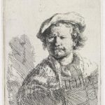 Self-portrait in a flat cap and embroidered dress – Rembrandt
