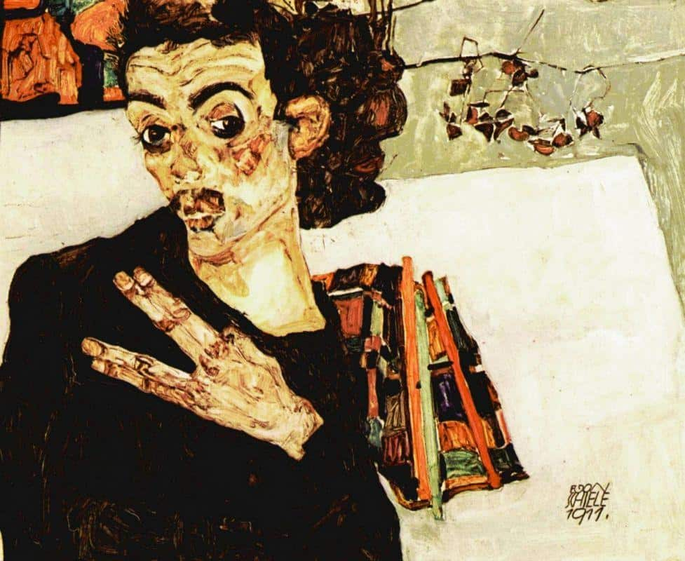 Self-Portrait with Black Vase and Spread Fingers - Egon Schiele