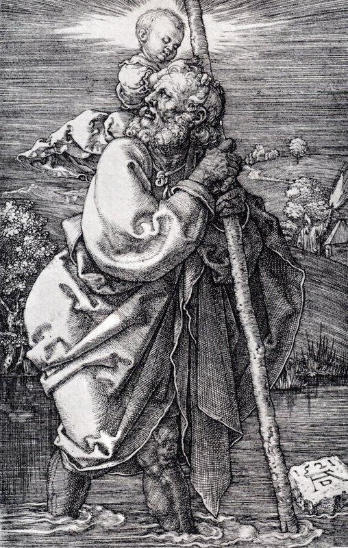 St. Christopher Facing To The Left - Albrecht Durer
