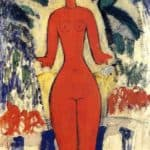 Standing nude with Garden Background – Amedeo Modigliani