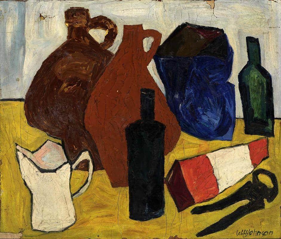 Still Life -; Bottles, Jugs, Pitcher -; William H. Johnson