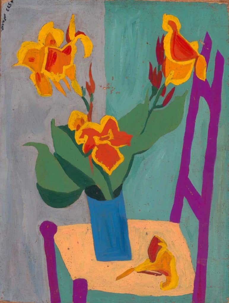 Still Life - Chair and Flowers - William H. Johnson