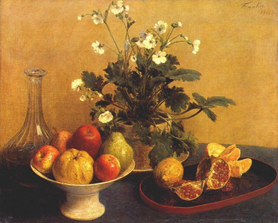 Still Life Flowers, Bowl Of Fruit And Pitcher - Henri Fantin Latour