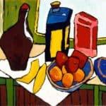 Still Life–Fruit, Bottles – William H. Johnson