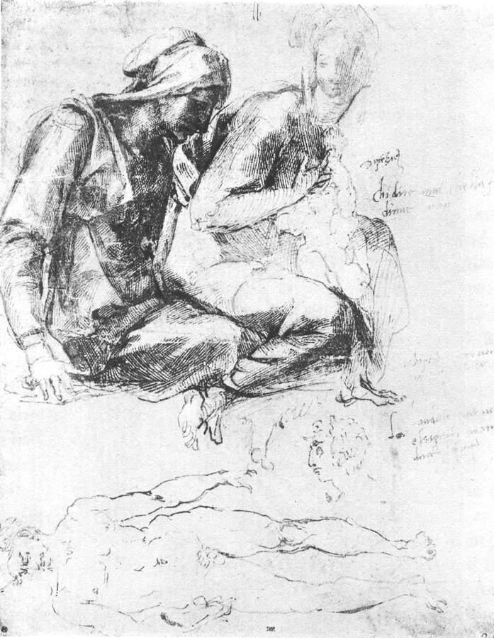"Study to ""Madonna and Child With St.John The Baptist"" - Michelangelo"