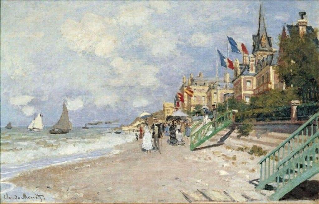 The Boardwalk On The Beach At Trouville - Claude Monet