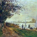 The Riverbank at Petit-Gennevilliers, Sunset – Claude Monet