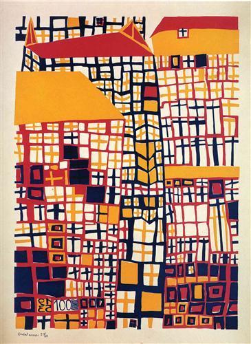 155 Three High Houses - Friedensreich Hundertwasser