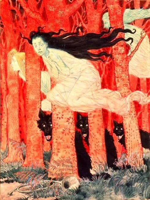 Three Women and Three Wolves - Eugene Grasset