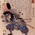 Tomimori Sukeemon Masakat  dodging a brazier – Utagawa Kuniyoshi