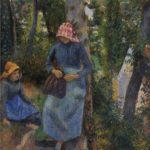 Two Young Peasants Chatting under the Trees – Camille Pissarro