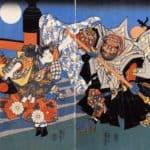 Uchiwakamaru fighting Benkei on Gojo bridge – Utagawa Kuniyoshi