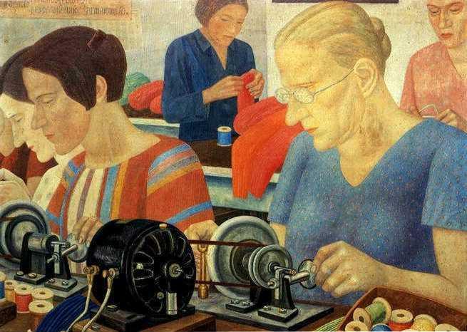 Udarnitzi (Record Breaking Workers) at the Factory Krasnaya Zaria - Pavel Filonov