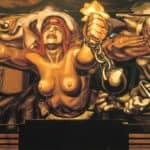 View of a mural depicting Democracy breaking her chains – David Alfaro Siqueiros