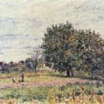 Walnut trees at sunset in early October – Alfred Sisley