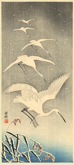 White Birds In Snow - Ohara Koson