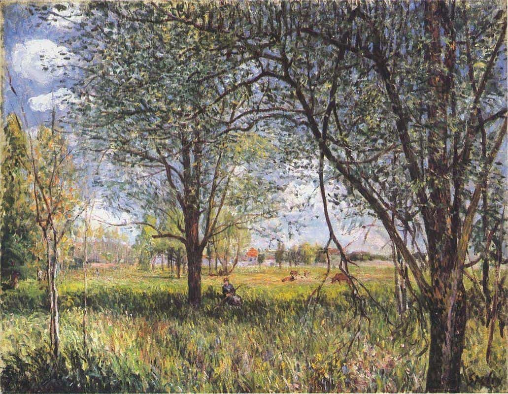 Willows In a Field Afternoon - Alfred Sisley