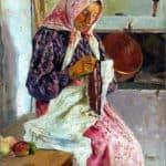 Woman Stitching the Shawl – Nikolay Bogdanov-Belsky