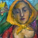 Woman With Yellow Scarf - David Burliuk