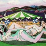 Bathers on The Beach Under Umbrella - Rafael Zabaleta