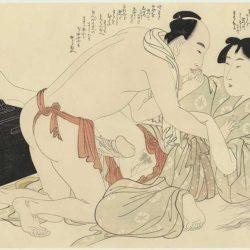 A Man Interrupts Woman Combing Her Long Hair - Kitagawa Utamaro