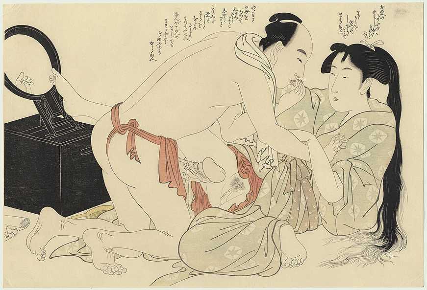 A Man Interrupts Woman Combing Her Long Hair – Kitagawa Utamaro
